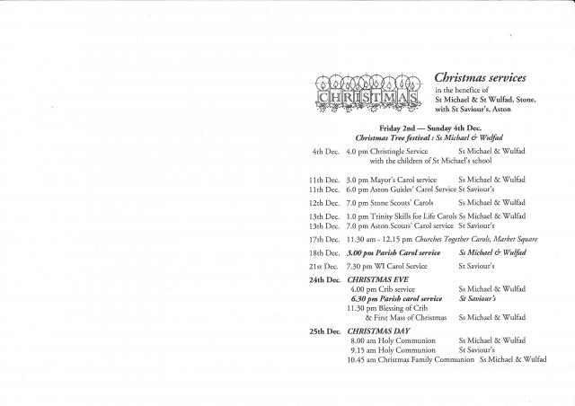 Christmas Services at St Michael & St Wulfad and St Saviour, Aston